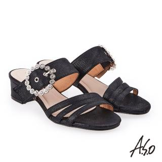 【A.S.O 阿瘦集團】炫麗魅惑 金箔絨面低跟奈米涼拖鞋(黑色)