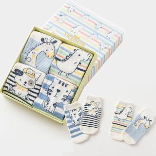 【Kidself】保暖寶寶中筒卡通童襪4雙組-塗鴉動物(童襪)