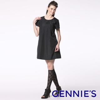 【Gennies 奇妮】名媛風蝴蝶結哺乳洋裝(黑GNA50)