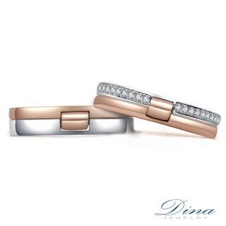 【DINA 蒂娜珠寶】『一世愛戀』 雙色鑽石 結婚對戒(情人鑽石對戒 系列)