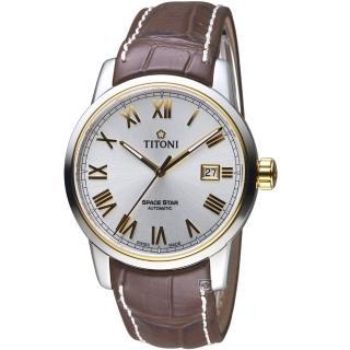 【TITONI 梅花錶】天星系列歐式經典機械腕錶(83538SY-ST-561)