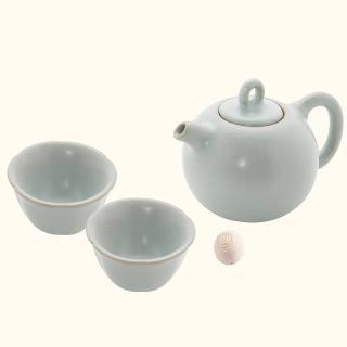 【LohasPottery 陸寶】汝窯藏器 圓珠壺 自在茶組 一壺兩杯(瑪瑙為釉  精湛工藝)