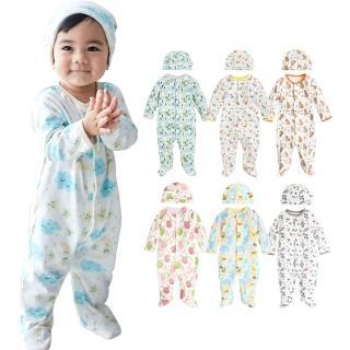 【Baby童衣】寶寶連身衣 純棉長袖包腳爬衣及嬰兒帽  2件組 50517(共8色)