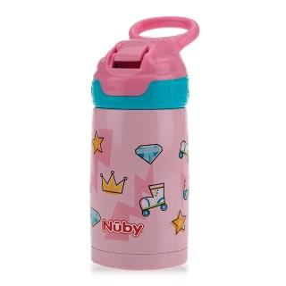 【Nuby】不鏽鋼真空隨行杯-粉紅派對_300ml