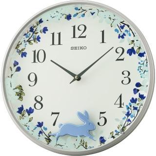【SEIKO 精工】跳躍小兔掛鐘-藍/33mm(QXC238N)