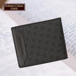 【Roberta Colum】諾貝達 男用皮夾 短夾 專櫃皮夾 進口牛皮配乳膠短夾(28902-黑色)