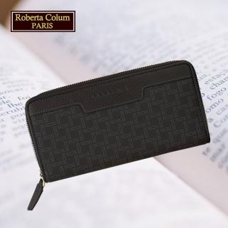 【Roberta Colum】諾貝達 男用皮夾 短夾 專櫃皮夾 進口牛皮配乳膠短夾(28907-黑色)