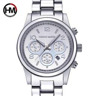 【HANNAH MARTIN】自我主義三眼裝飾不鏽鋼腕錶(HM-1038-Y)