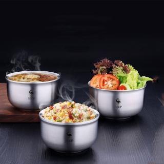 【PUSH!】餐具304不鏽鋼碗防摔防燙飯碗雙層加厚泡麵碗湯碗15.5CM(E108-1)
