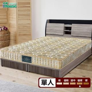【IHouse】Minerva 福賈 護脊加強律動棉高碳鋼硬式連結床墊(單人3x6.2尺)