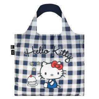 【LOQI】Hello Kitty 藍白格紋 KT14(購物袋.環保袋.收納.春捲包)