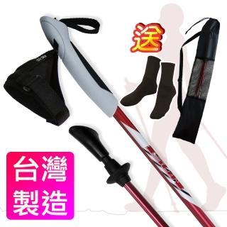 【Yenzch 健走杖】專業二節/一對二入 6011鋁合金 RM-10601-1(紅色《贈送背袋》)