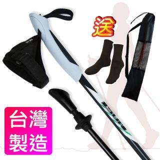 【Yenzch 健走杖】專業二節/一對二入 6011鋁合金 RM-10601(黑色《贈送背袋》)