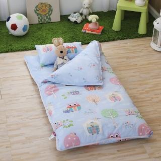 【IN HOUSE】Owl-city-100%精梳棉200織紗-兒童睡袋(藍色)