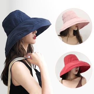 任-幸福揚邑-超大帽檐防曬抗UV可捲摺桃絨遮陽帽-6色可選