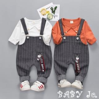 【BABY Ju 寶貝啾】嬰幼兒條紋吊帶褲套裝(白色 / 橘色)