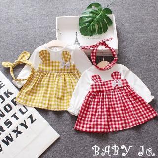 【BABY Ju 寶貝啾】嬰幼兒格紋小兔公主裙(黃色 / 紅色)