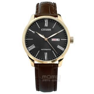【CITIZEN 星辰】機械錶 自動上鍊 礦石強化玻璃 日期星期 真皮手錶 黑x香檳金框x深褐 40mm(NH8353-00H)