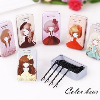 【卡樂熊】可愛女孩小鐵盒波浪黑髮夾2入組(隨機不挑款)