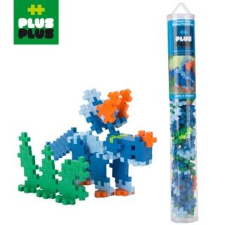 【BabyTiger 虎兒寶】++PLUS-PLUS 加加積木 MINI 小顆粒-彩虹系列(100PCS 三角龍 - 透明管裝)