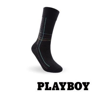 【PLAYBOY】絲光格紋紳士襪-黑(紳士襪)