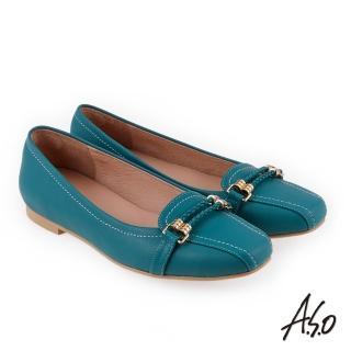 【A.S.O 阿瘦集團】奇幻樂章 職場通勤簡約全真皮奈米低跟鞋(藍色)