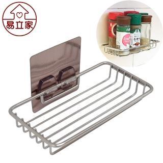 【Easy+ 易立家】小調味罐架(304不鏽鋼無痕掛勾 無痕貼 廚房浴室收納置物架 洗碗精洗手乳放置瀝水架)