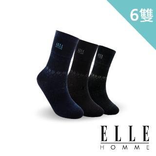 【ELLE HOMME】動態視覺音譜寬口紳士襪-6入組(寬口襪)