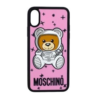 【MOSCHINO】新款可愛外星太空熊 I Phone X 軟膠手機殼(粉紅)