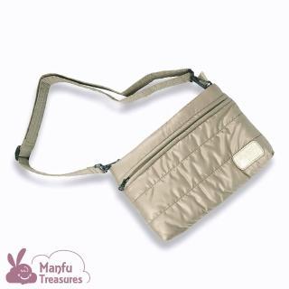 【Manfu Treasures 滿福寶】雙層斜背收納包2.0-香檳金 媽媽包(愜意散步的輕便包/內建卡片證件收納夾層)