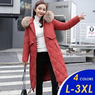 【CHACO】/ 現貨/  韓系簡約挑色毛領連帽禦寒羽絨棉長外套#927(偏小版)