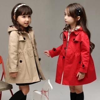 【小衣衫童裝】淑女氣質款可拆帽子長袖風衣外套(1070823)