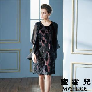 【mysheros 蜜雪兒】絲絨金蔥貼花洋裝(黑)