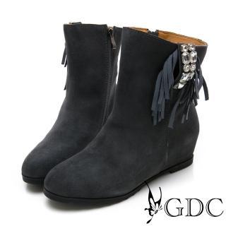【GDC】真皮秋冬時尚水鑽高端流蘇中筒靴-灰色(428423)