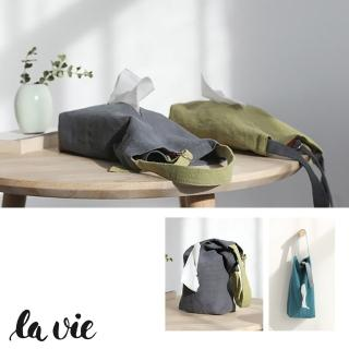 【La Vie】那抹藍☆日式簡約拼色棉麻掛式紙巾盒面紙盒(可吊掛可平放)