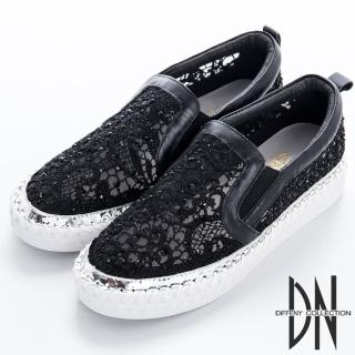 【DN】衝突前衛 法式蕾絲MIX異材質休閒鞋(黑)