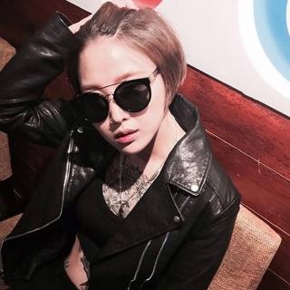 【FAKE ME 太陽眼鏡】時尚雙槓貓眼款(黑金-綠鏡片#BUELLER BGD)