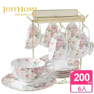 【Just Home】花漾薔薇新骨瓷6入咖啡杯盤組附架(附禮盒)