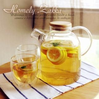 【Homely Zakka】午茶食光茶濾短嘴竹蓋玻璃壺/花果茶壼 1800ml(加贈雙層玻璃60ml小茶杯2入組)