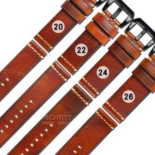 【Watchband】20.22.24.26mm 各品牌通用 百搭款 經典復刻 厚實柔軟 瘋馬皮 牛皮錶帶(咖啡紅)