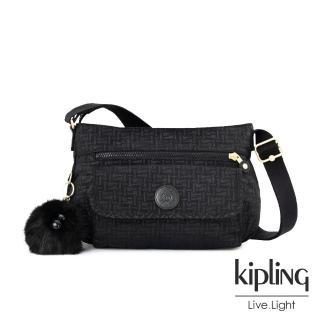 【KIPLING】黑色幾何紋路掀蓋側背包-SYRO