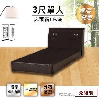 【IHouse】經濟型房間組二件-單人3尺(床頭箱+床底)