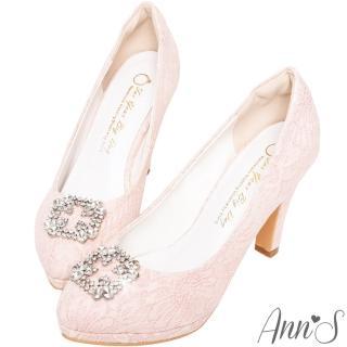 【Ann'S】幸福戀曲-方形鑽扣手工蕾絲防水台高跟婚鞋(粉)
