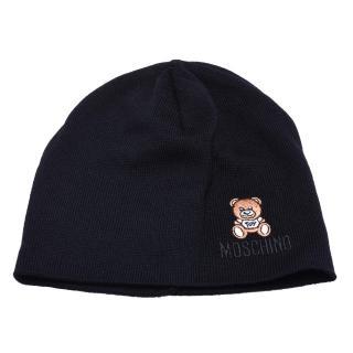 【MOSCHINO】經典品牌字母泰迪熊刺繡圖案針織毛帽(黑色65032 M1679-003)