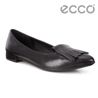 【ecco】ECCO SHAPE POINTY BALLERINA流蘇尖頭正裝平底鞋 女(黑 26297301001)