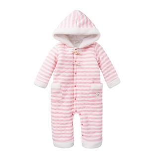 【Baby童衣】任選 連身衣 全開扣加厚條紋連帽爬服 47034(淡粉色)