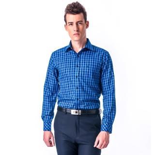 【金安德森】深淺藍白格紋保暖窄版長袖襯衫-fast