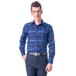 【金安德森】深藍底藍黃大線格保暖窄版長袖襯衫-fast