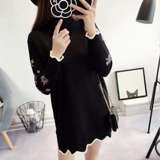 【BBHONEY】韓版中長款百搭手臂繡花寬鬆毛衣針織連身裙(延禧風刺繡連身裙)