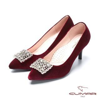 【CUMAR】璀璨閃耀-奢華巴洛克風情方形鏤空鑽飾釦天鵝絨高跟鞋(酒紅色)